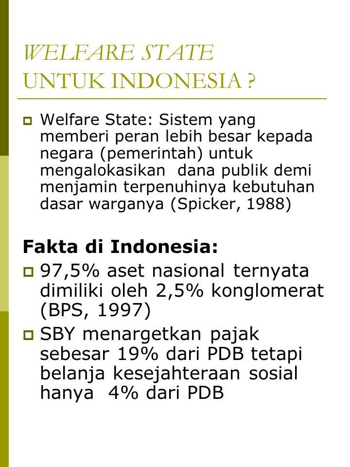 WELFARE STATE UNTUK INDONESIA ?  Welfare State: Sistem yang memberi peran lebih besar kepada negara (pemerintah) untuk mengalokasikan dana publik dem