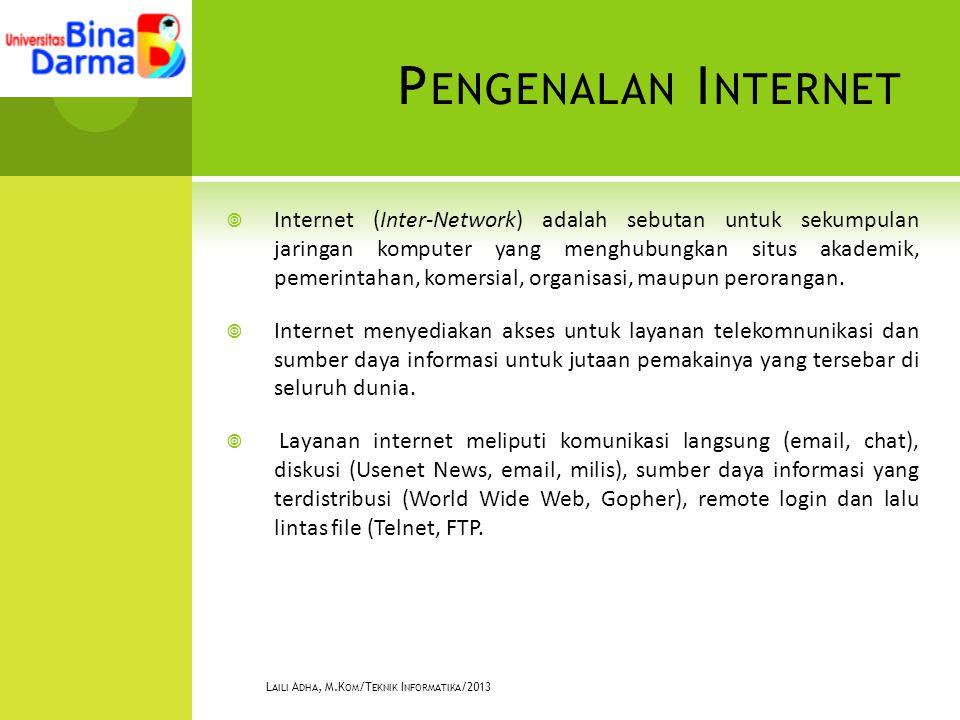 P ENGENALAN I NTERNET  Internet (Inter-Network) adalah sebutan untuk sekumpulan jaringan komputer yang menghubungkan situs akademik, pemerintahan, komersial, organisasi, maupun perorangan.