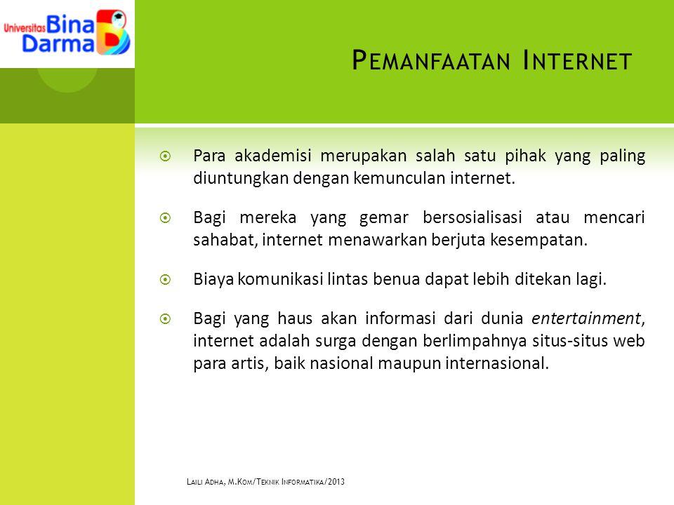 P EMANFAATAN I NTERNET  Para akademisi merupakan salah satu pihak yang paling diuntungkan dengan kemunculan internet.