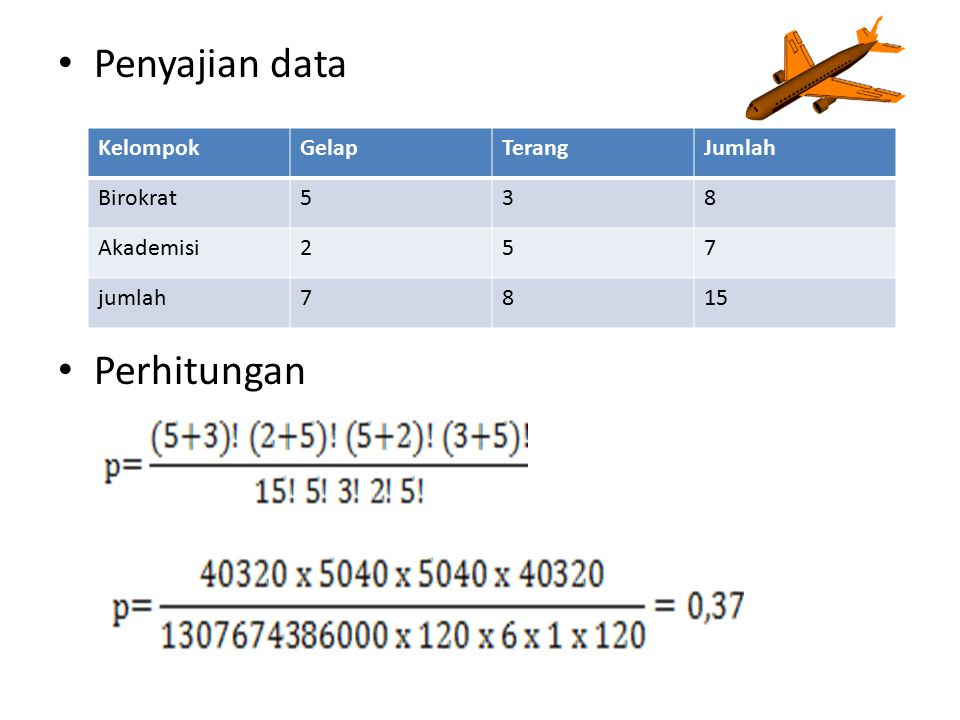 Penyajian data Perhitungan KelompokGelapTerangJumlah Birokrat538 Akademisi257 jumlah7815