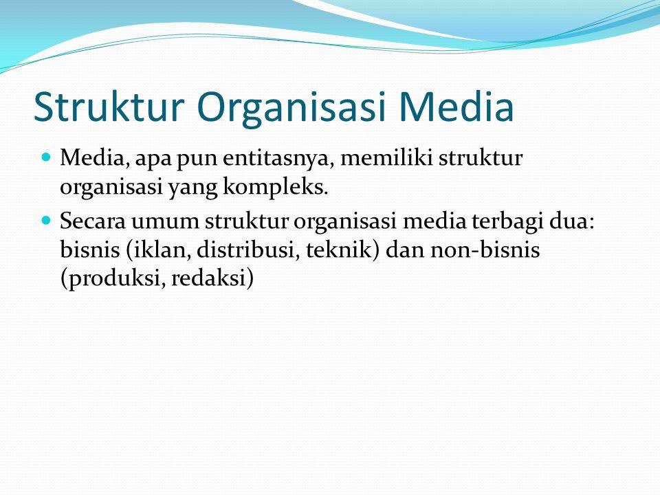 Struktur Organisasi Media Media, apa pun entitasnya, memiliki struktur organisasi yang kompleks.
