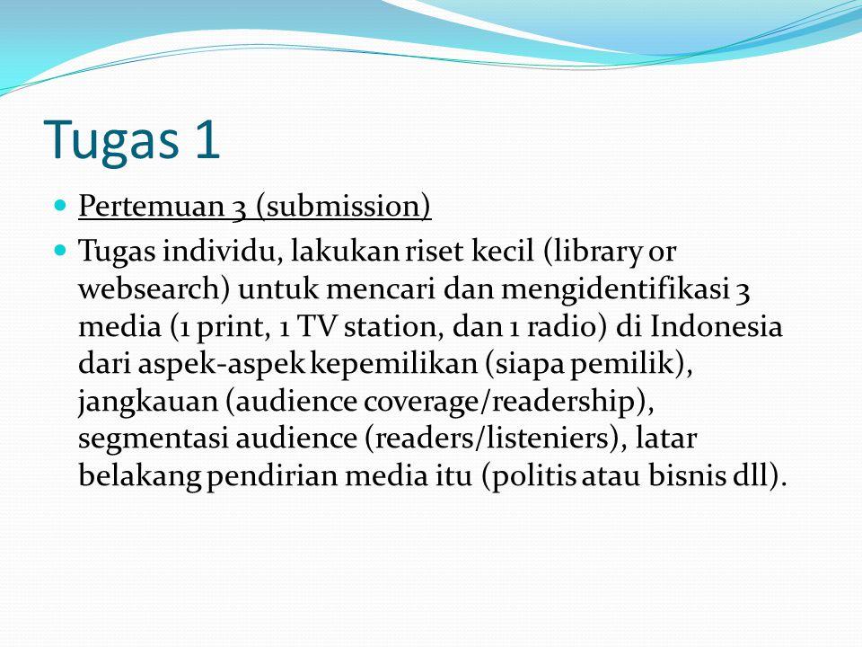 Tugas 1 Pertemuan 3 (submission) Tugas individu, lakukan riset kecil (library or websearch) untuk mencari dan mengidentifikasi 3 media (1 print, 1 TV station, dan 1 radio) di Indonesia dari aspek-aspek kepemilikan (siapa pemilik), jangkauan (audience coverage/readership), segmentasi audience (readers/listeniers), latar belakang pendirian media itu (politis atau bisnis dll).