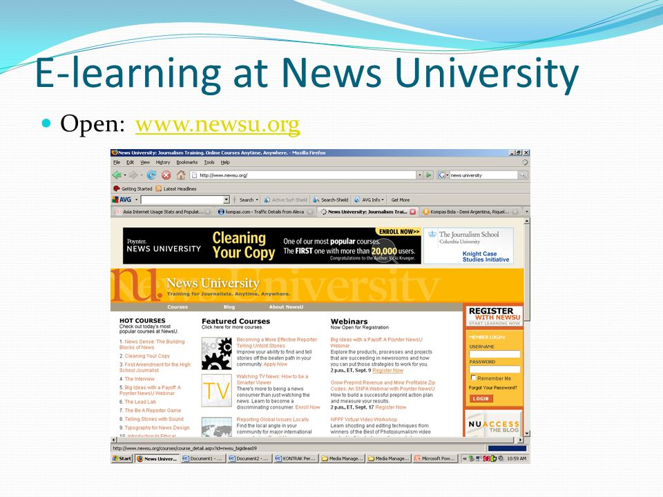 E-learning at News University Open: www.newsu.orgwww.newsu.org