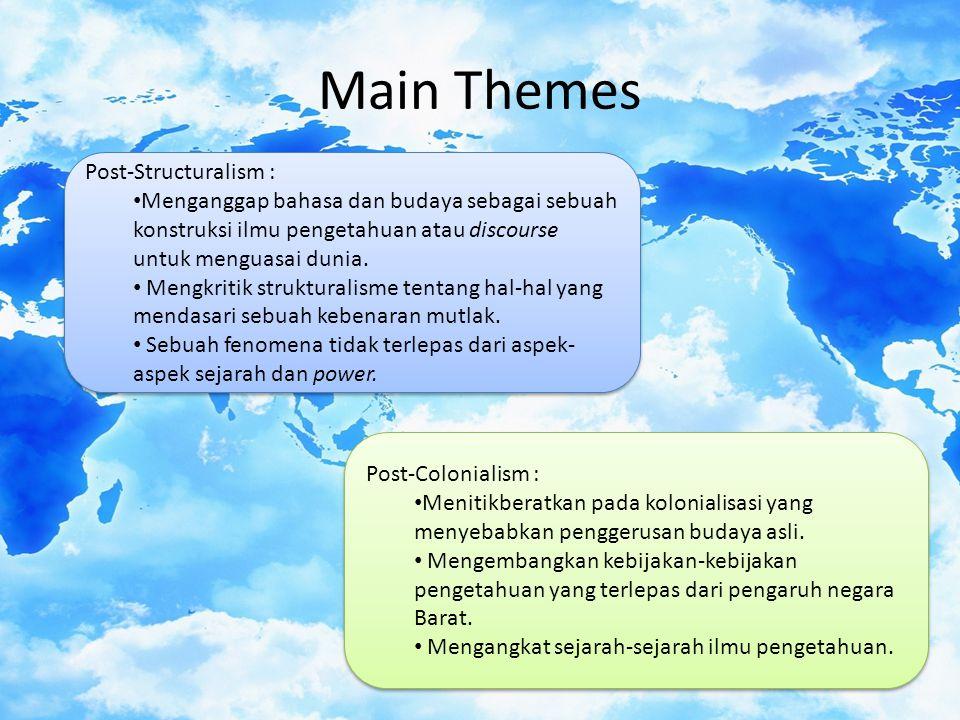 Main Themes Post-Structuralism : Menganggap bahasa dan budaya sebagai sebuah konstruksi ilmu pengetahuan atau discourse untuk menguasai dunia.