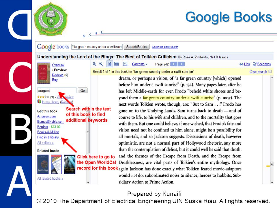 Google Books Prepared by Kunaifi © 2010 The Department of Electrical Engineering UIN Suska Riau. All rights reserved.