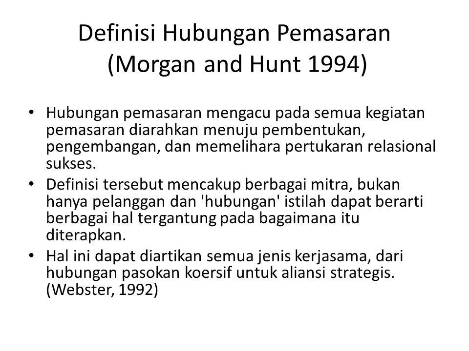 Definisi Hubungan Pemasaran (Morgan and Hunt 1994) Hubungan pemasaran mengacu pada semua kegiatan pemasaran diarahkan menuju pembentukan, pengembangan
