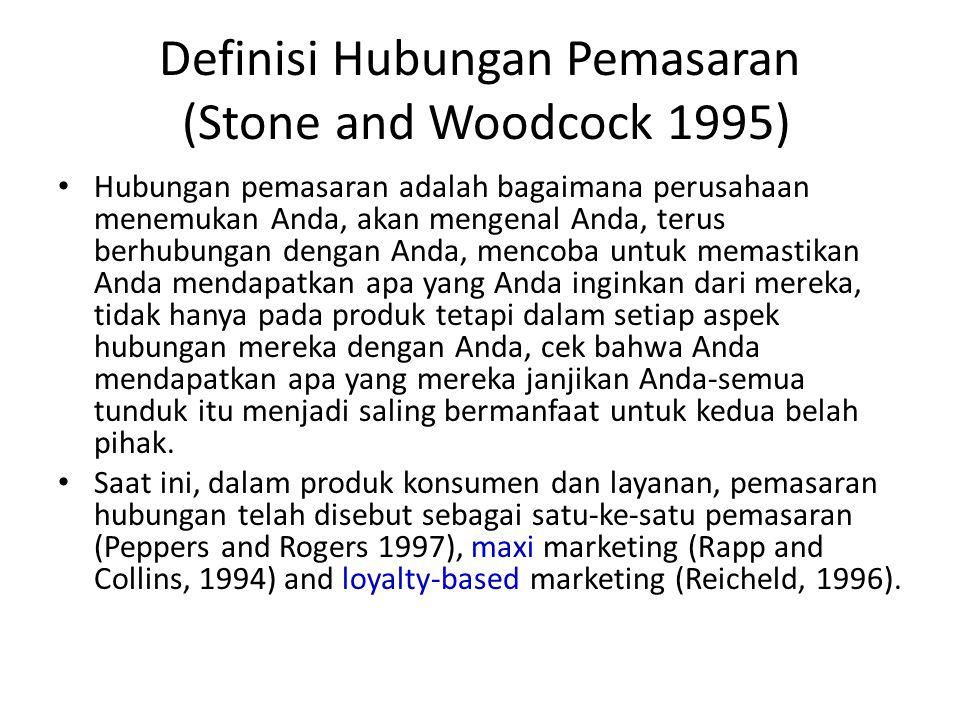 Definisi Hubungan Pemasaran (Stone and Woodcock 1995) Hubungan pemasaran adalah bagaimana perusahaan menemukan Anda, akan mengenal Anda, terus berhubu