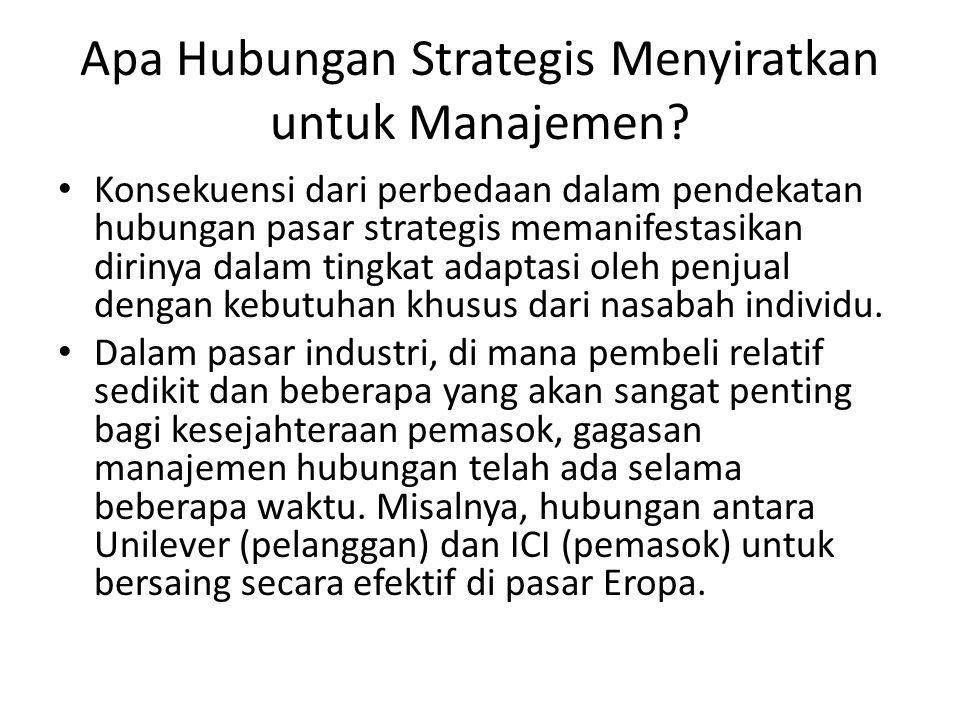 Apa Hubungan Strategis Menyiratkan untuk Manajemen? Konsekuensi dari perbedaan dalam pendekatan hubungan pasar strategis memanifestasikan dirinya dala