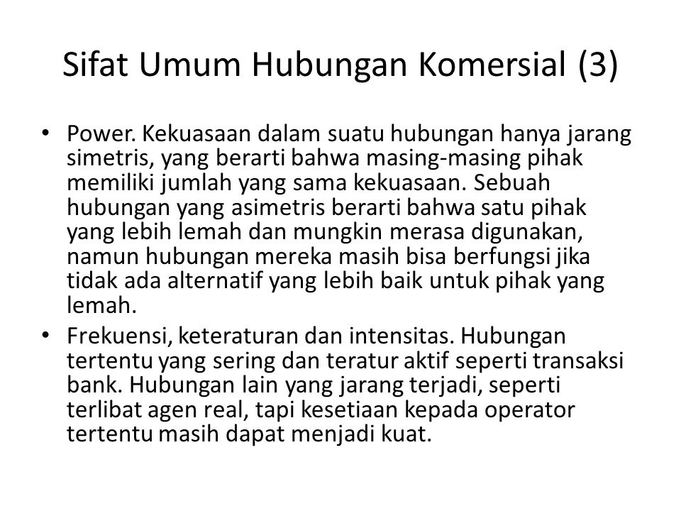 Sifat Umum Hubungan Komersial (3) Power.