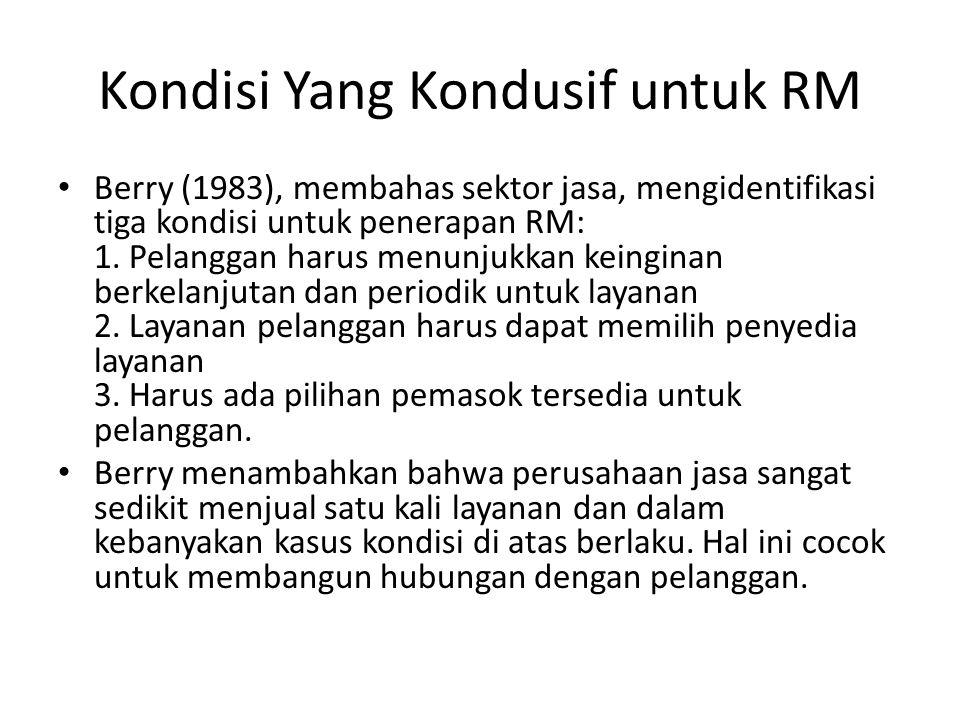 Kondisi Yang Kondusif untuk RM Berry (1983), membahas sektor jasa, mengidentifikasi tiga kondisi untuk penerapan RM: 1. Pelanggan harus menunjukkan ke