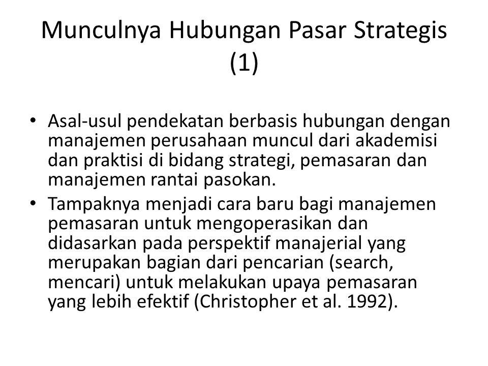Munculnya Hubungan Pasar Strategis (1) Asal-usul pendekatan berbasis hubungan dengan manajemen perusahaan muncul dari akademisi dan praktisi di bidang