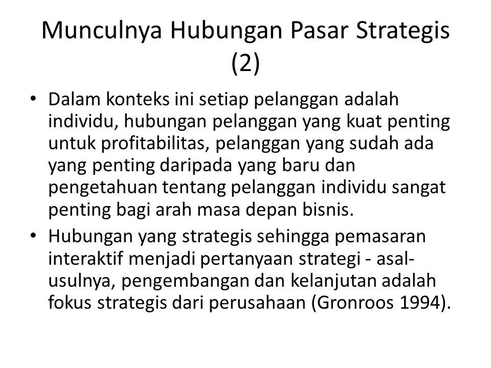 Munculnya Hubungan Pasar Strategis (2) Dalam konteks ini setiap pelanggan adalah individu, hubungan pelanggan yang kuat penting untuk profitabilitas,