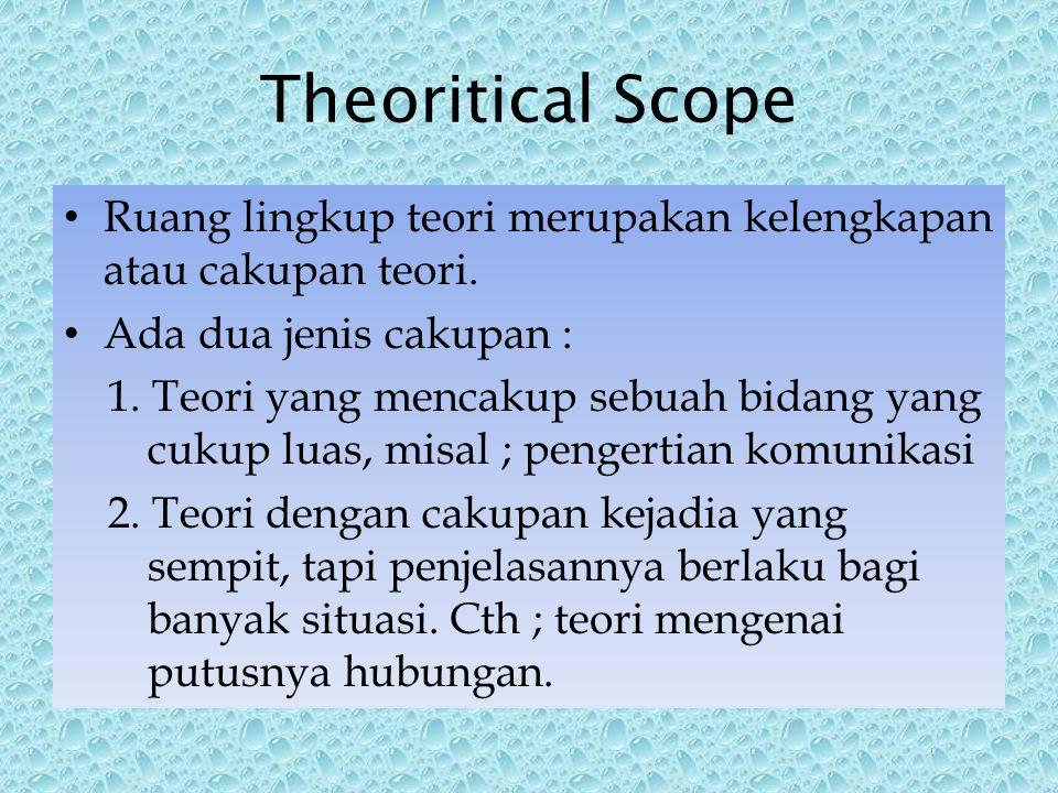 Theoritical Scope Ruang lingkup teori merupakan kelengkapan atau cakupan teori.