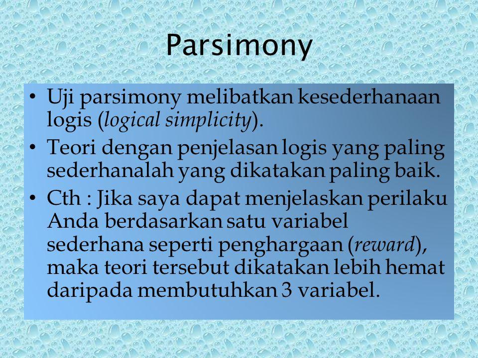 Parsimony Uji parsimony melibatkan kesederhanaan logis ( logical simplicity ).