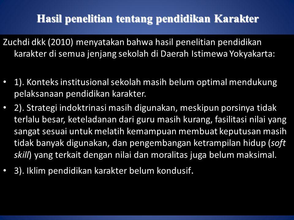 Hasil penelitian tentang pendidikan Karakter Zuchdi dkk (2010) menyatakan bahwa hasil penelitian pendidikan karakter di semua jenjang sekolah di Daerah Istimewa Yokyakarta: 1).
