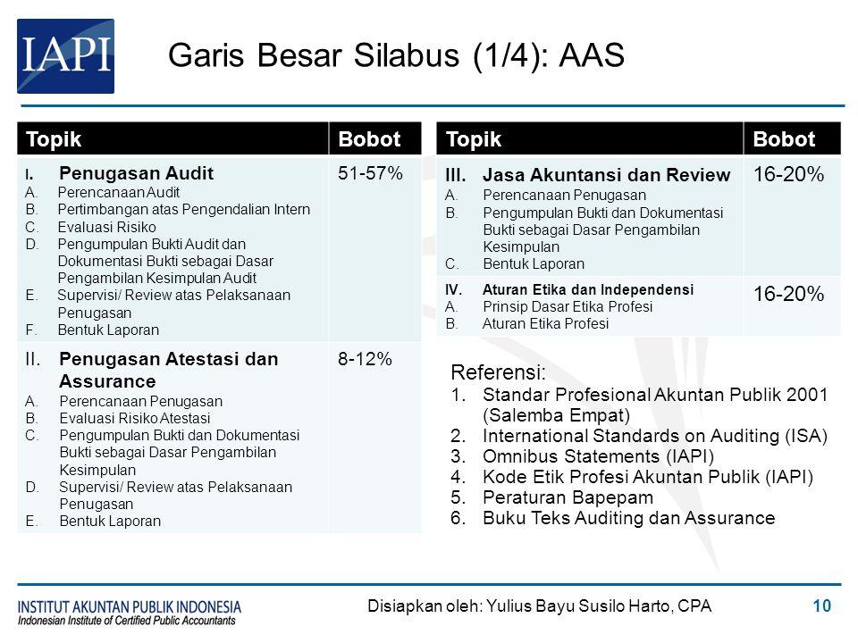 Garis Besar Silabus (1/4): AAS TopikBobot I. Penugasan Audit A.Perencanaan Audit B.Pertimbangan atas Pengendalian Intern C.Evaluasi Risiko D.Pengumpul