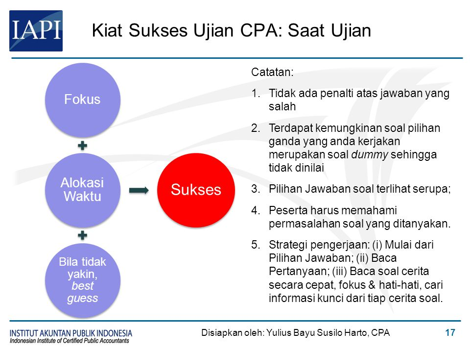 Kiat Sukses Ujian CPA: Saat Ujian Fokus Alokasi Waktu Bila tidak yakin, best guess Sukses Disiapkan oleh: Yulius Bayu Susilo Harto, CPA17 Catatan: 1.T