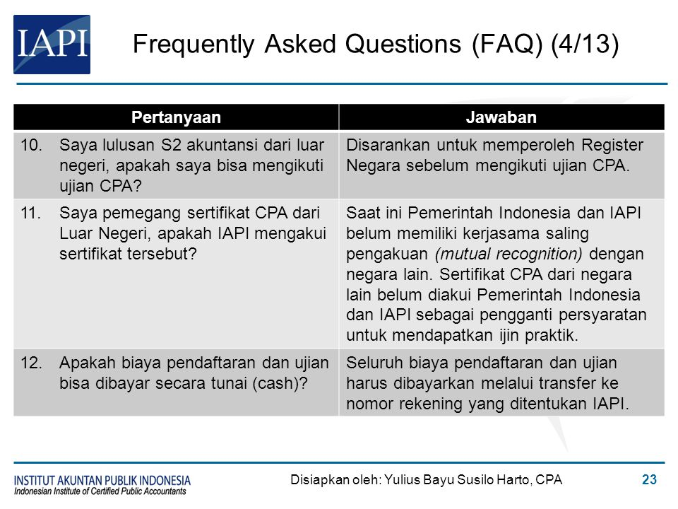Frequently Asked Questions (FAQ) (4/13) Disiapkan oleh: Yulius Bayu Susilo Harto, CPA23 PertanyaanJawaban 10.Saya lulusan S2 akuntansi dari luar neger