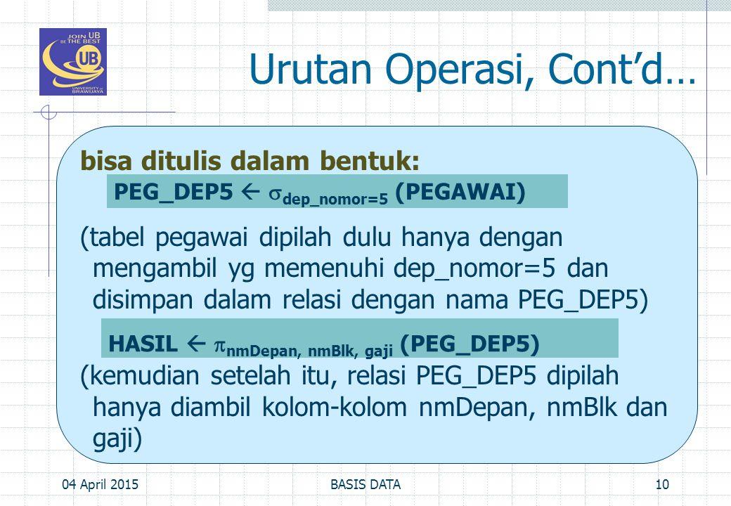 Urutan Operasi, Cont'd… bisa ditulis dalam bentuk: (tabel pegawai dipilah dulu hanya dengan mengambil yg memenuhi dep_nomor=5 dan disimpan dalam relas