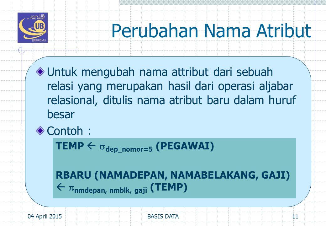 Perubahan Nama Atribut Untuk mengubah nama attribut dari sebuah relasi yang merupakan hasil dari operasi aljabar relasional, ditulis nama atribut baru