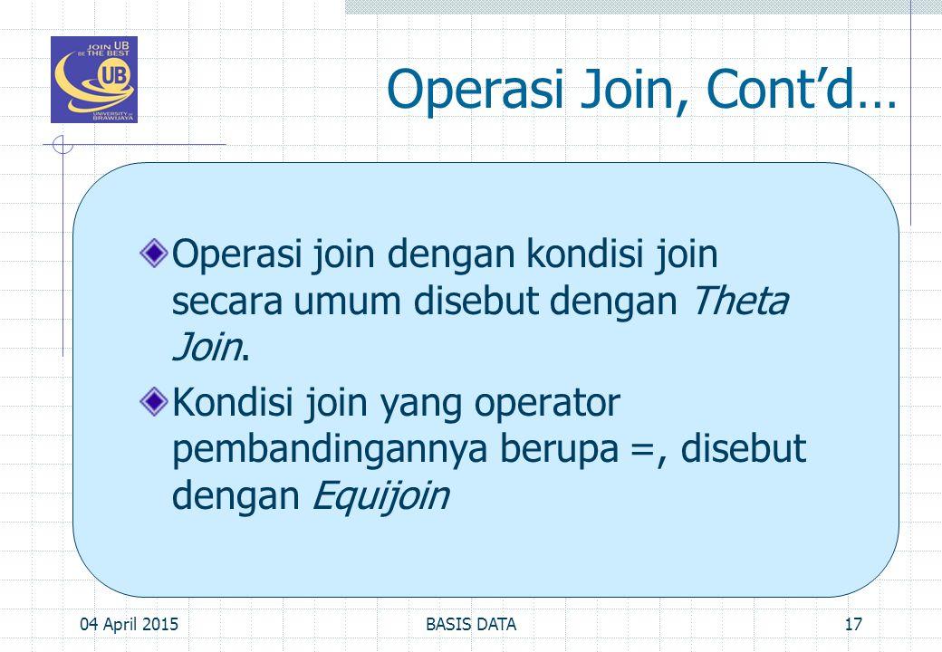 Operasi Join, Cont'd… Operasi join dengan kondisi join secara umum disebut dengan Theta Join. Kondisi join yang operator pembandingannya berupa =, dis