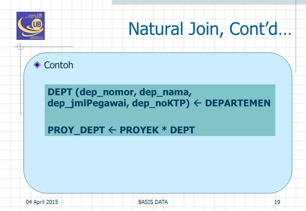 Natural Join, Cont'd… Contoh 04 April 201519BASIS DATA DEPT (dep_nomor, dep_nama, dep_jmlPegawai, dep_noKTP)  DEPARTEMEN PROY_DEPT  PROYEK * DEPT