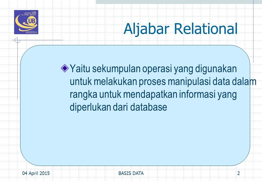 Aljabar Relational, Cont'd… Secara umum dibagi menjadi 2: operasi himpunan (UNION, INTERSECTION, DIFFERENCE, dan CARTESIAN PRODUCT) operasi yang dikembangkan secara khusus untuk database relational.