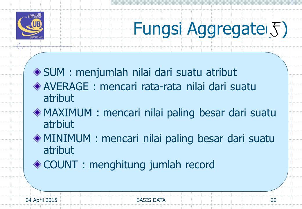 Fungsi Aggregate( ) SUM : menjumlah nilai dari suatu atribut AVERAGE : mencari rata-rata nilai dari suatu atribut MAXIMUM : mencari nilai paling besar