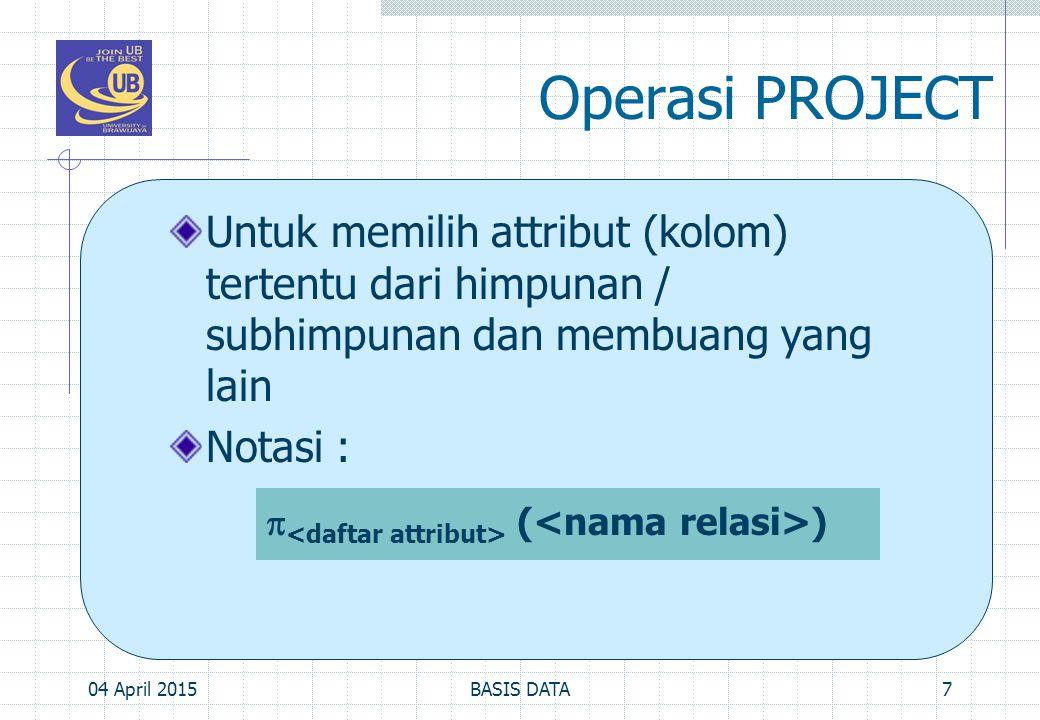 Operasi PROJECT Untuk memilih attribut (kolom) tertentu dari himpunan / subhimpunan dan membuang yang lain Notasi : 04 April 20157BASIS DATA  ( )