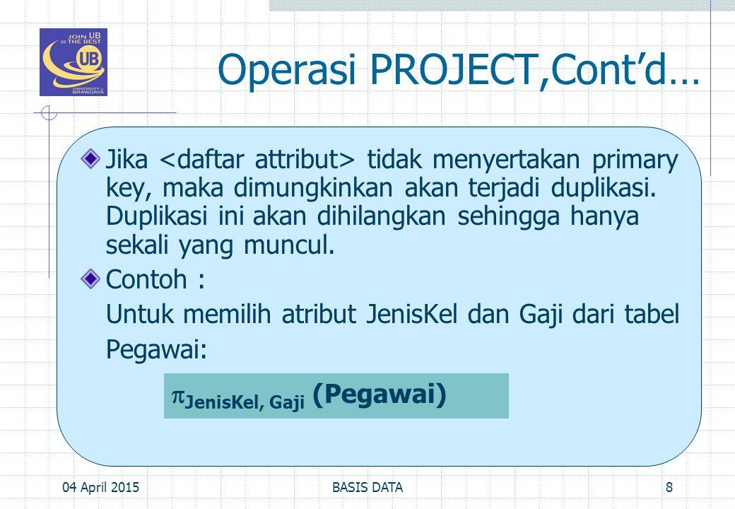 Operasi PROJECT,Cont'd… Jika tidak menyertakan primary key, maka dimungkinkan akan terjadi duplikasi. Duplikasi ini akan dihilangkan sehingga hanya se