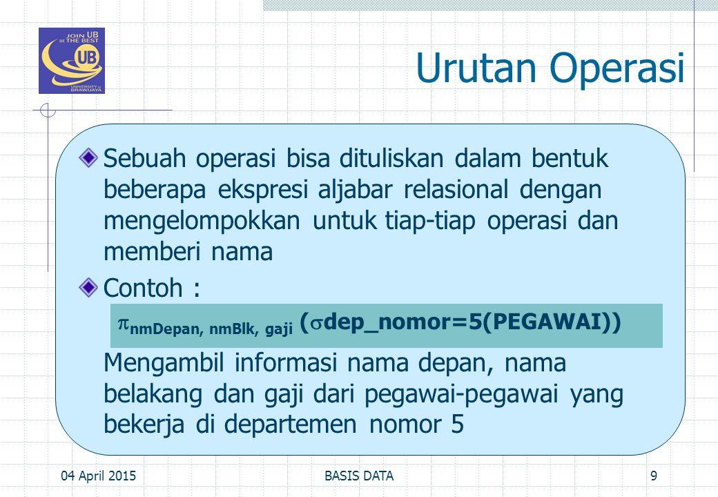 Urutan Operasi, Cont'd… bisa ditulis dalam bentuk: (tabel pegawai dipilah dulu hanya dengan mengambil yg memenuhi dep_nomor=5 dan disimpan dalam relasi dengan nama PEG_DEP5) (kemudian setelah itu, relasi PEG_DEP5 dipilah hanya diambil kolom-kolom nmDepan, nmBlk dan gaji) 04 April 201510BASIS DATA PEG_DEP5   dep_nomor=5 (PEGAWAI) HASIL   nmDepan, nmBlk, gaji (PEG_DEP5)