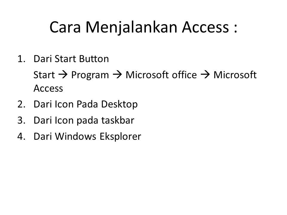 Cara Menjalankan Access : 1.Dari Start Button Start  Program  Microsoft office  Microsoft Access 2.Dari Icon Pada Desktop 3.Dari Icon pada taskbar