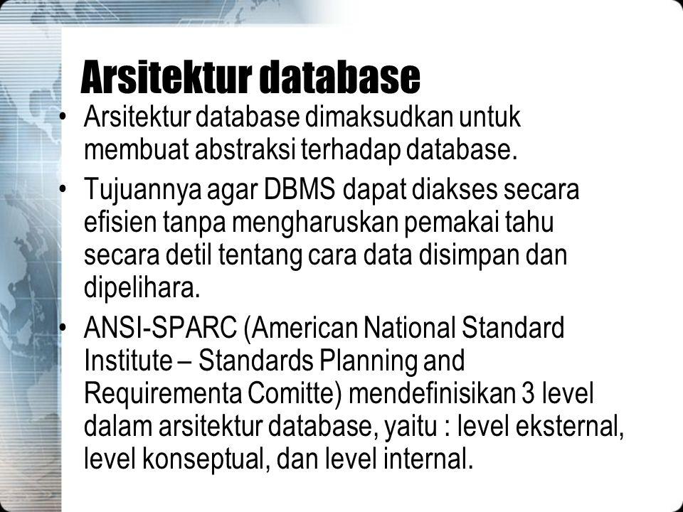 Arsitektur database Arsitektur database dimaksudkan untuk membuat abstraksi terhadap database. Tujuannya agar DBMS dapat diakses secara efisien tanpa