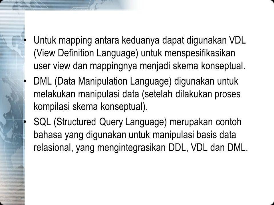 Untuk mapping antara keduanya dapat digunakan VDL (View Definition Language) untuk menspesifikasikan user view dan mappingnya menjadi skema konseptual