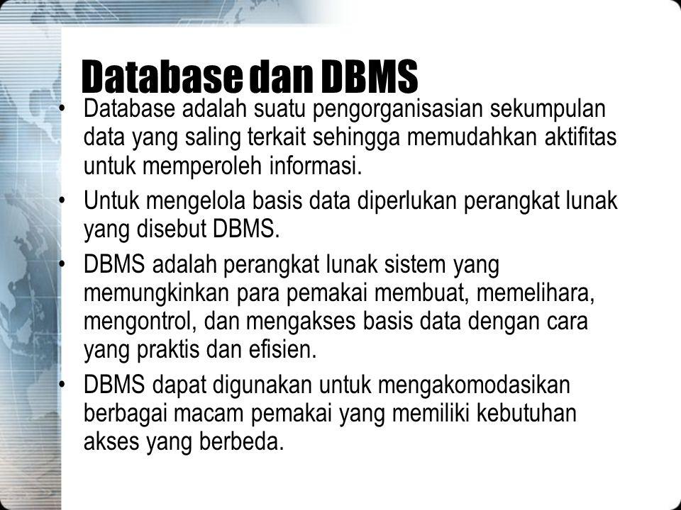 Database dan DBMS Database adalah suatu pengorganisasian sekumpulan data yang saling terkait sehingga memudahkan aktifitas untuk memperoleh informasi.