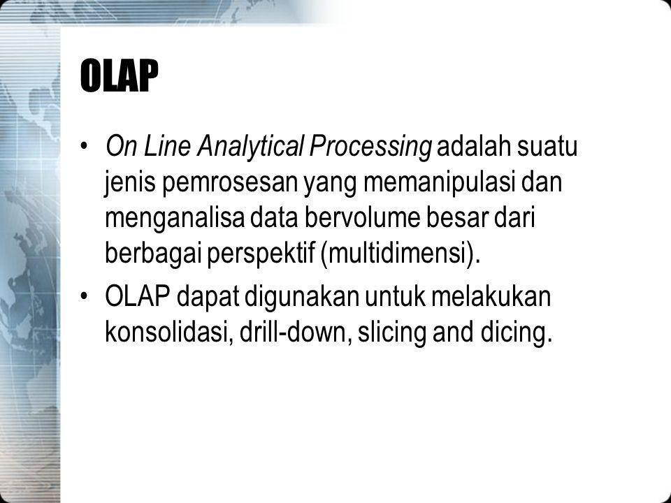 OLAP On Line Analytical Processing adalah suatu jenis pemrosesan yang memanipulasi dan menganalisa data bervolume besar dari berbagai perspektif (mult