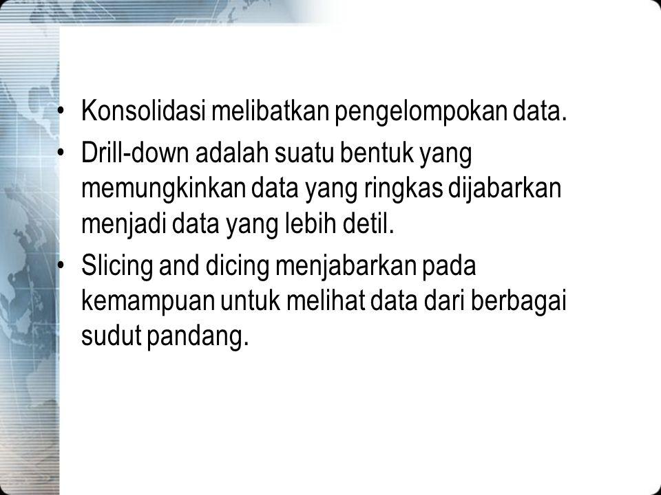 Konsolidasi melibatkan pengelompokan data. Drill-down adalah suatu bentuk yang memungkinkan data yang ringkas dijabarkan menjadi data yang lebih detil