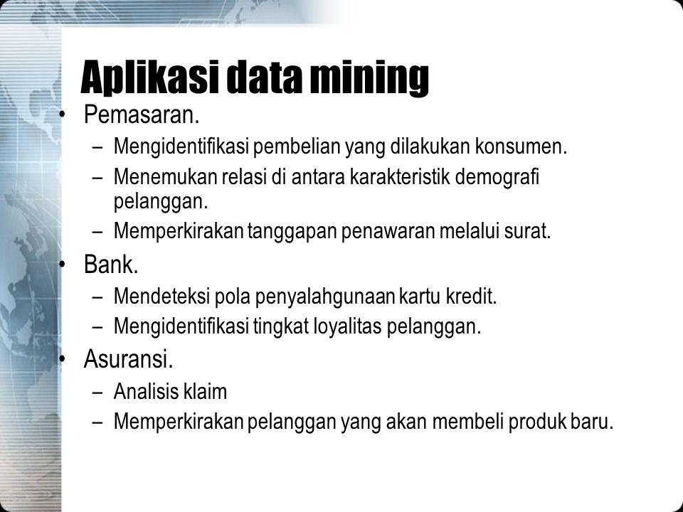 Aplikasi data mining Pemasaran. –Mengidentifikasi pembelian yang dilakukan konsumen. –Menemukan relasi di antara karakteristik demografi pelanggan. –M