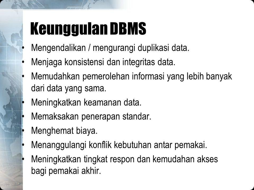 Keunggulan DBMS Mengendalikan / mengurangi duplikasi data. Menjaga konsistensi dan integritas data. Memudahkan pemerolehan informasi yang lebih banyak