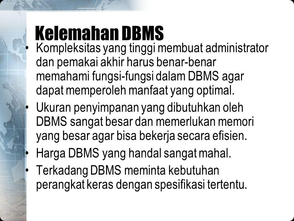 Kelemahan DBMS Kompleksitas yang tinggi membuat administrator dan pemakai akhir harus benar-benar memahami fungsi-fungsi dalam DBMS agar dapat mempero