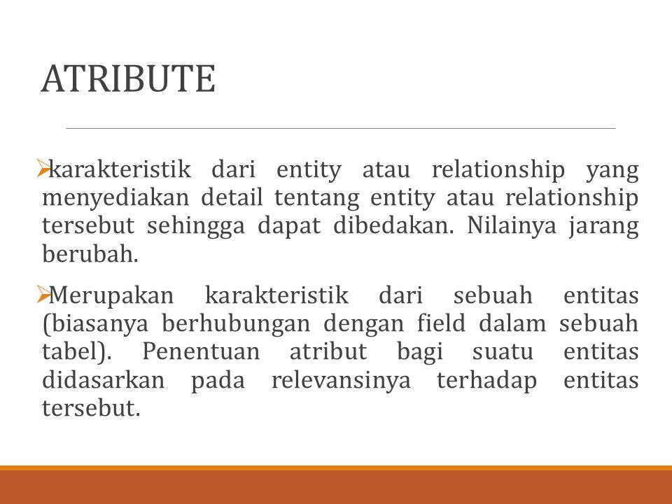 ATRIBUTE  karakteristik dari entity atau relationship yang menyediakan detail tentang entity atau relationship tersebut sehingga dapat dibedakan. Nil
