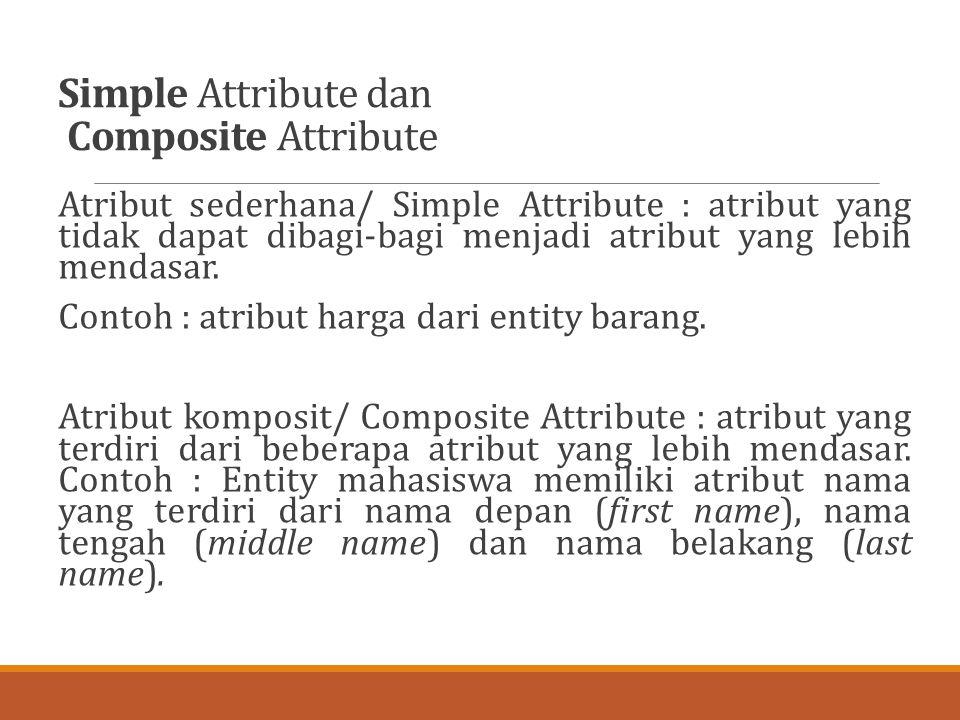 Simple Attribute dan Composite Attribute Atribut sederhana/ Simple Attribute : atribut yang tidak dapat dibagi-bagi menjadi atribut yang lebih mendasa