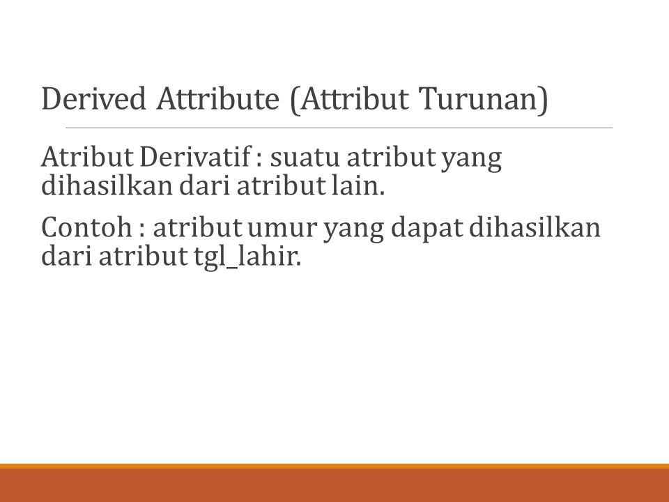 Derived Attribute (Attribut Turunan) Atribut Derivatif : suatu atribut yang dihasilkan dari atribut lain. Contoh : atribut umur yang dapat dihasilkan