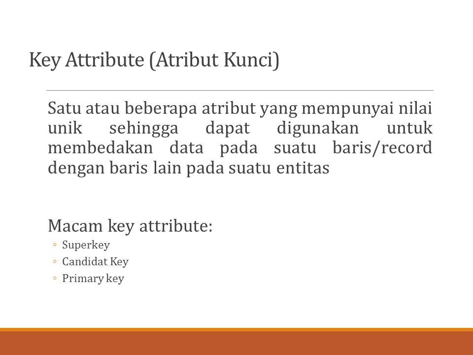 Key Attribute (Atribut Kunci) Satu atau beberapa atribut yang mempunyai nilai unik sehingga dapat digunakan untuk membedakan data pada suatu baris/rec