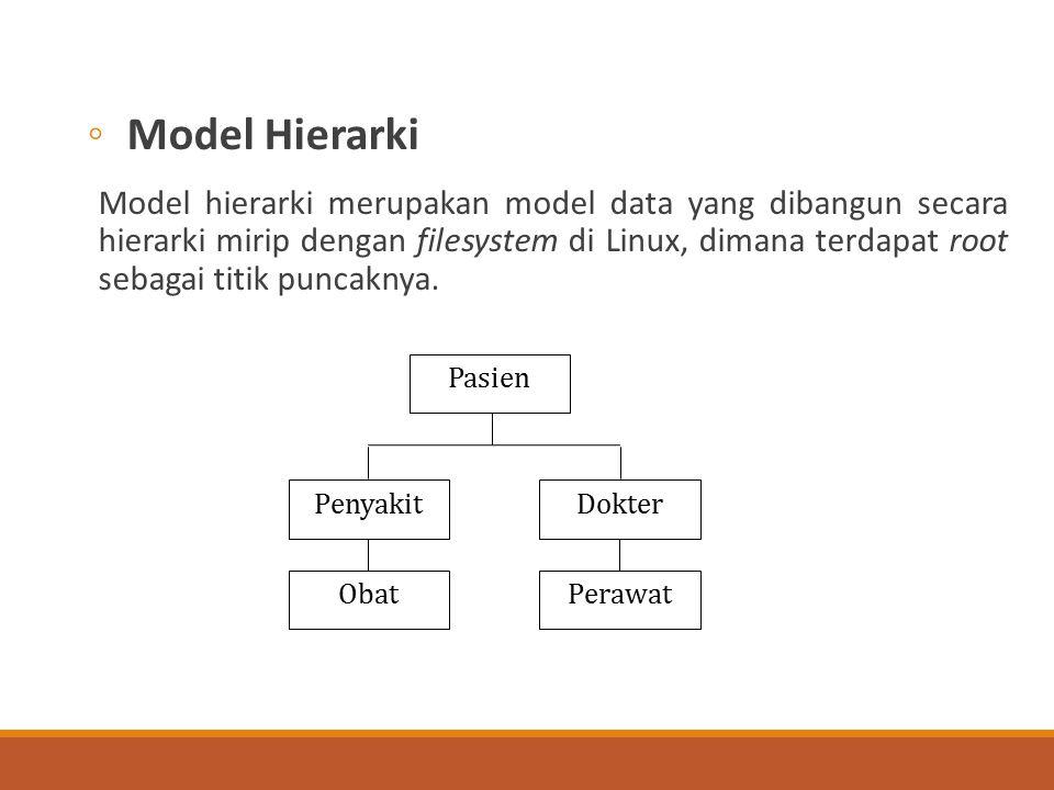 ◦Model Hierarki Model hierarki merupakan model data yang dibangun secara hierarki mirip dengan filesystem di Linux, dimana terdapat root sebagai titik