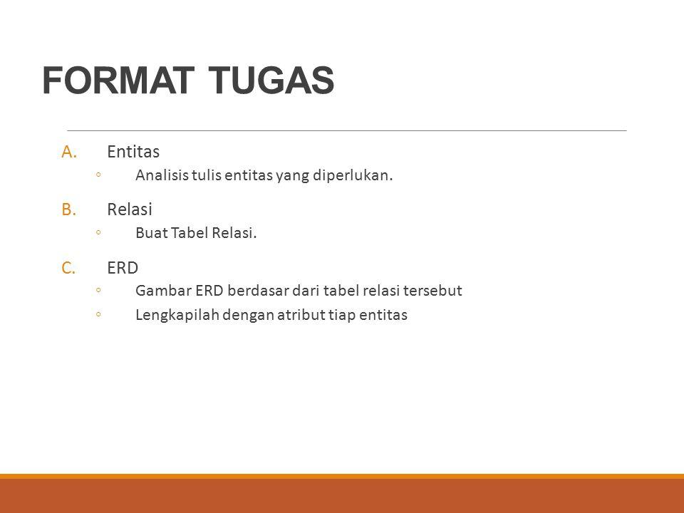 FORMAT TUGAS A.Entitas ◦Analisis tulis entitas yang diperlukan. B.Relasi ◦Buat Tabel Relasi. C.ERD ◦Gambar ERD berdasar dari tabel relasi tersebut ◦Le