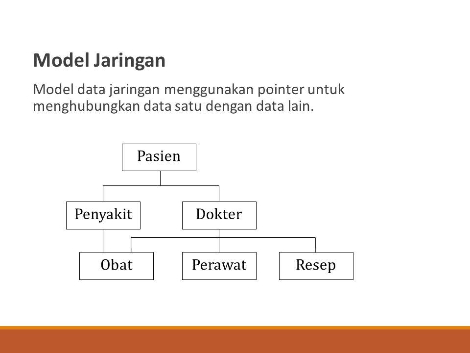 Model Jaringan Model data jaringan menggunakan pointer untuk menghubungkan data satu dengan data lain. Obat Pasien DokterPenyakit PerawatResep