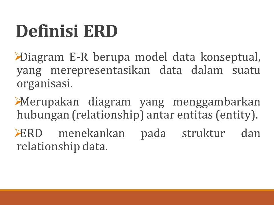 Definisi ERD  Diagram E-R berupa model data konseptual, yang merepresentasikan data dalam suatu organisasi.  Merupakan diagram yang menggambarkan hu