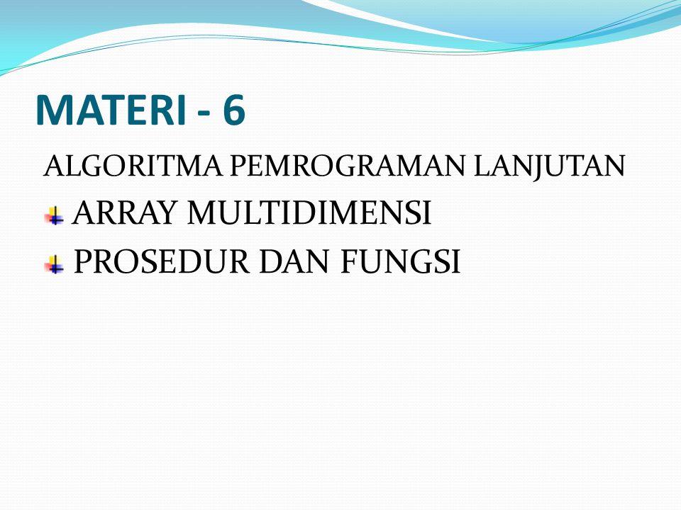 MATERI - 6 ALGORITMA PEMROGRAMAN LANJUTAN ARRAY MULTIDIMENSI PROSEDUR DAN FUNGSI