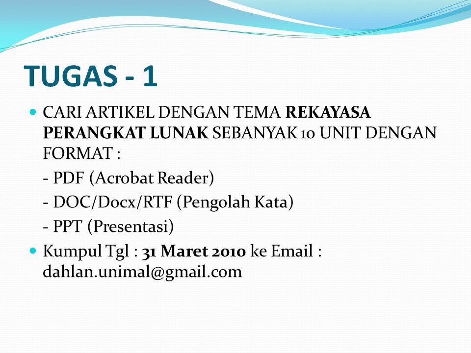 TUGAS - 1 CARI ARTIKEL DENGAN TEMA REKAYASA PERANGKAT LUNAK SEBANYAK 10 UNIT DENGAN FORMAT : - PDF (Acrobat Reader) - DOC/Docx/RTF (Pengolah Kata) - P